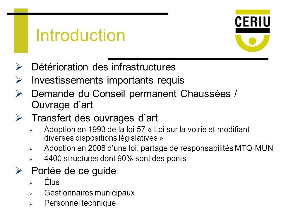 Introduction Statistiques 12 000 ouvrages dart au Québec Représente un actif de plus de 9 milliards Définition douvrage dart Toute construction nécessaire pour le passage dune voie de circulation terrestre, route ou chemin de fer.