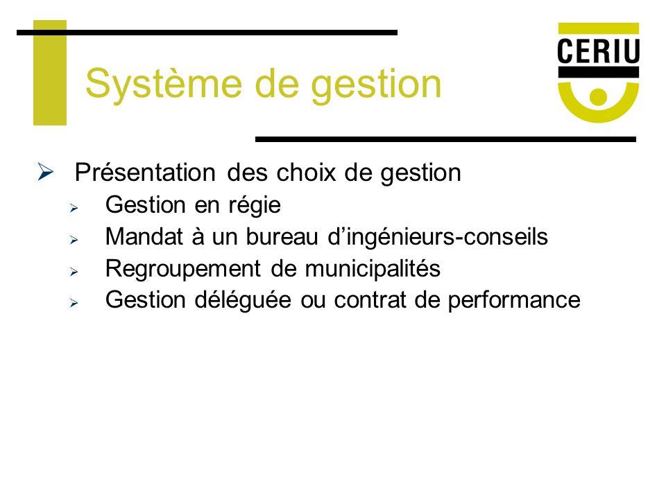 Système de gestion Présentation des choix de gestion Gestion en régie Mandat à un bureau dingénieurs-conseils Regroupement de municipalités Gestion déléguée ou contrat de performance