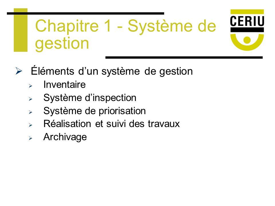 Éléments dun système de gestion Inventaire Système dinspection Système de priorisation Réalisation et suivi des travaux Archivage Chapitre 1 - Système de gestion