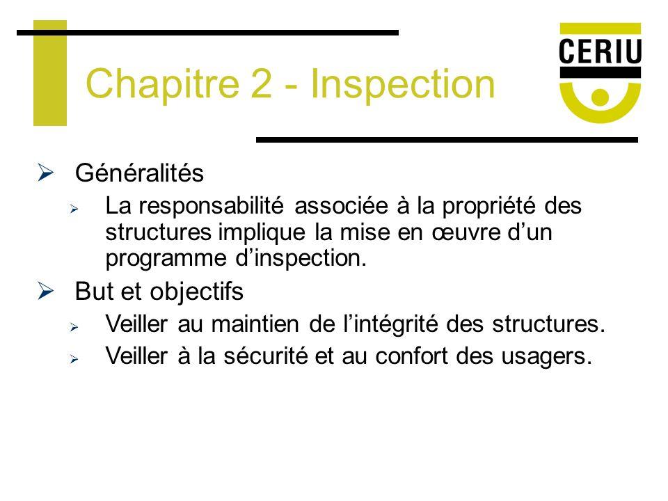 Programme dinspection Inspection générale Élément-clé du programme dinspection: Examen systématique des éléments dune structure Inspection sommaire Examen visuel des éléments dune structure Autres types dinspection Exemples: Inspection daffouillement et dobservation Chapitre 2 - Inspection