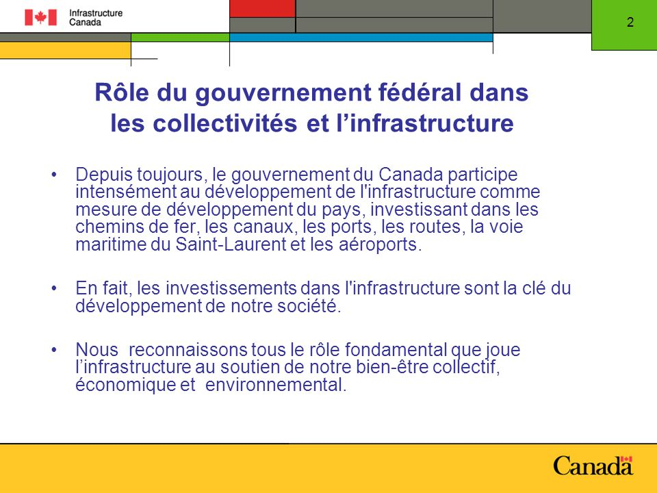 2 Rôle du gouvernement fédéral dans les collectivités et linfrastructure Depuis toujours, le gouvernement du Canada participe intensément au développement de l infrastructure comme mesure de développement du pays, investissant dans les chemins de fer, les canaux, les ports, les routes, la voie maritime du Saint-Laurent et les aéroports.