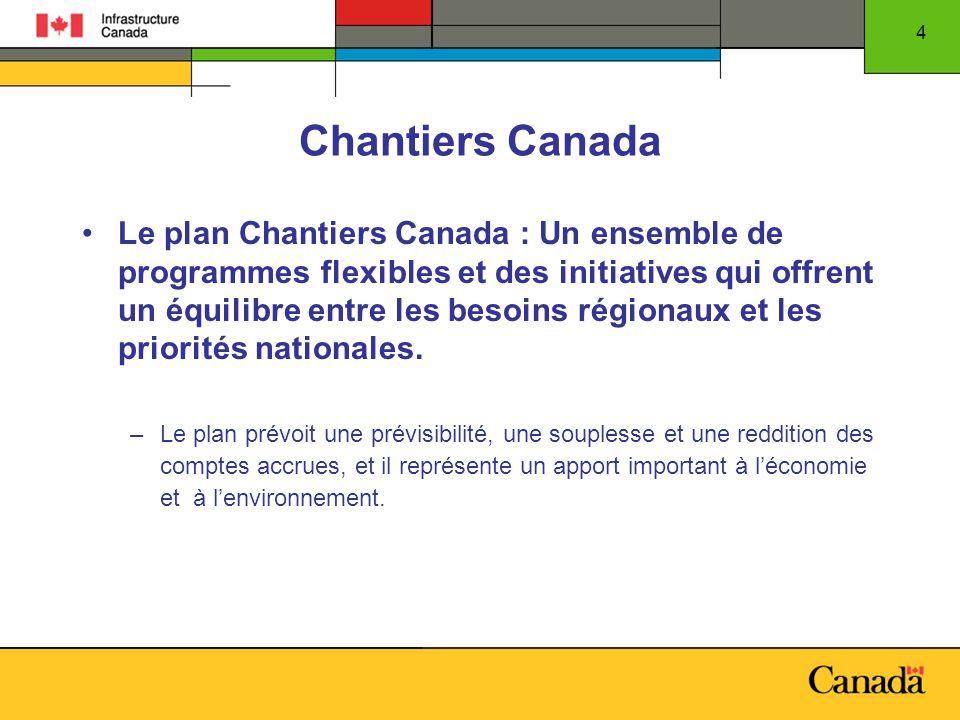 4 Chantiers Canada Le plan Chantiers Canada : Un ensemble de programmes flexibles et des initiatives qui offrent un équilibre entre les besoins régionaux et les priorités nationales.