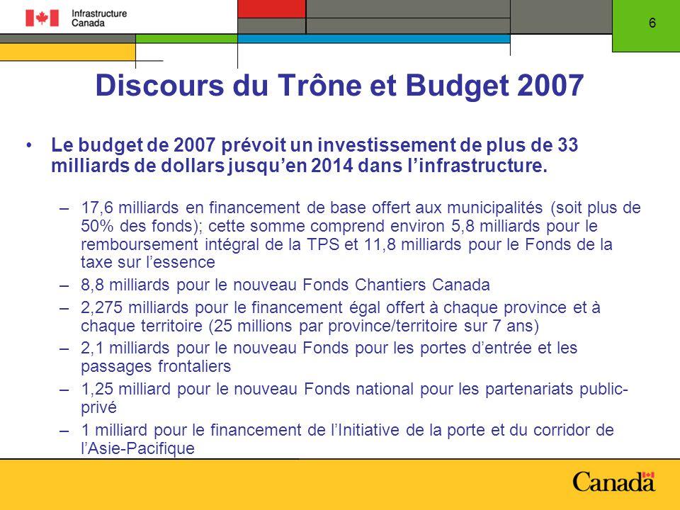 6 Discours du Trône et Budget 2007 Le budget de 2007 prévoit un investissement de plus de 33 milliards de dollars jusquen 2014 dans linfrastructure.