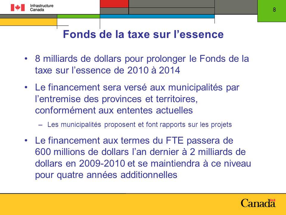 8 Fonds de la taxe sur lessence 8 milliards de dollars pour prolonger le Fonds de la taxe sur lessence de 2010 à 2014 Le financement sera versé aux mu