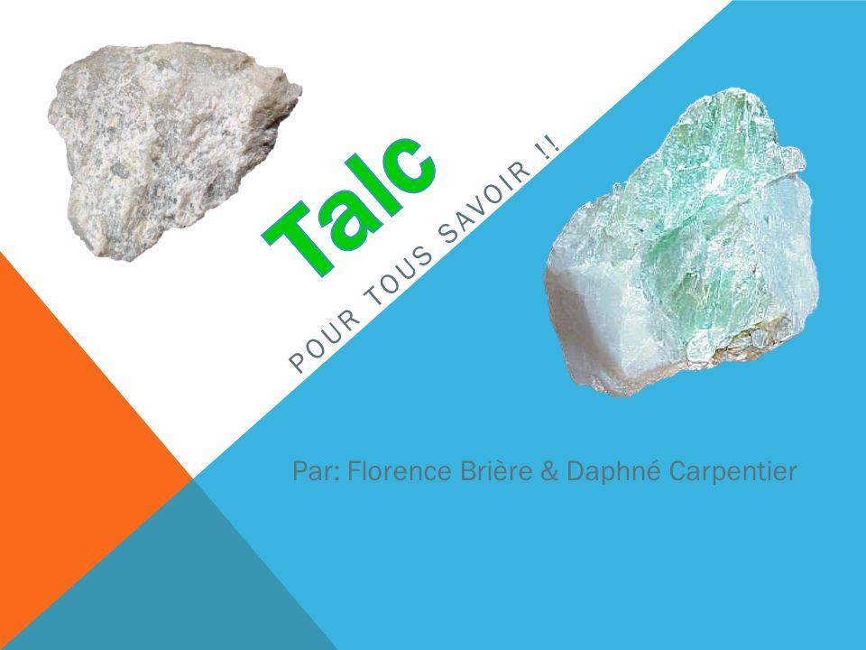 LE TALC Le talc est une espèce minérale composée de silicate de magnésium & pouvant contenir du nickel, du fer, de laluminium, du calcium ou du sodium.