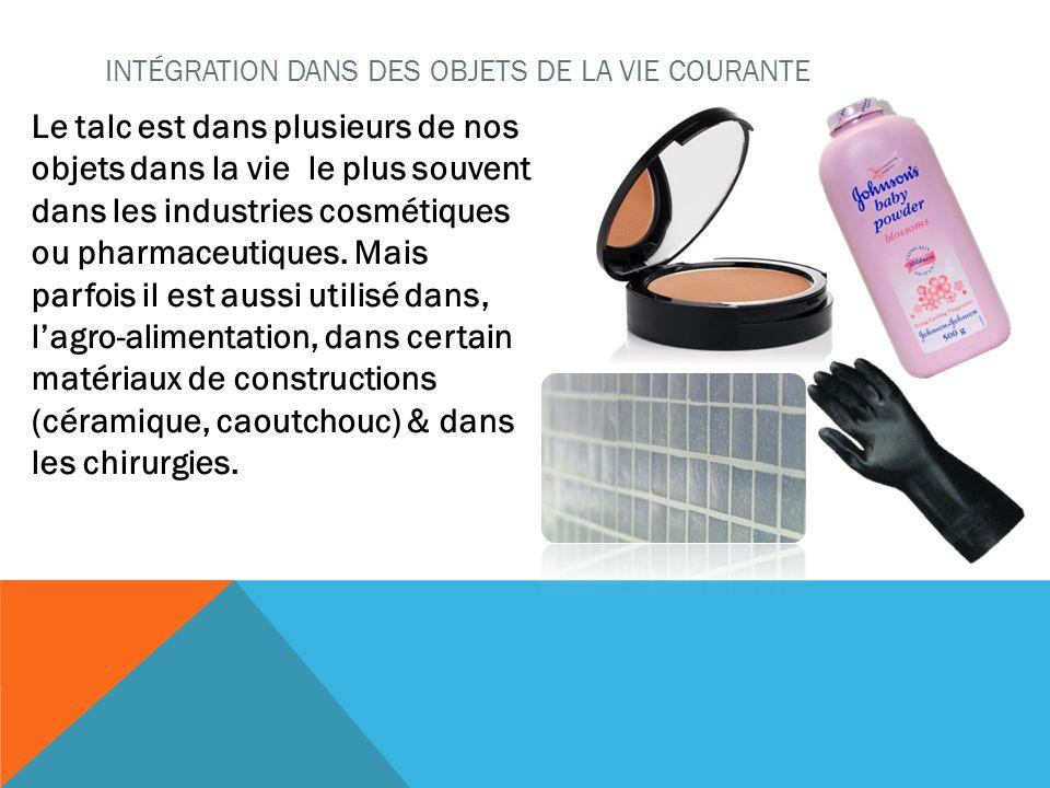 Le talc est dans plusieurs de nos objets dans la vie le plus souvent dans les industries cosmétiques ou pharmaceutiques. Mais parfois il est aussi uti