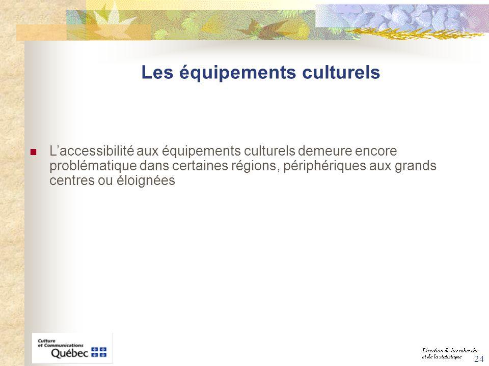 24 Les équipements culturels Laccessibilité aux équipements culturels demeure encore problématique dans certaines régions, périphériques aux grands ce