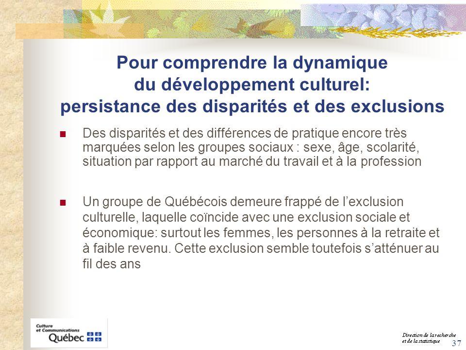37 Pour comprendre la dynamique du développement culturel: persistance des disparités et des exclusions Des disparités et des différences de pratique