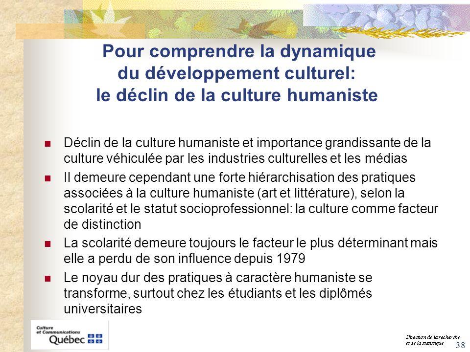 38 Pour comprendre la dynamique du développement culturel: le déclin de la culture humaniste Déclin de la culture humaniste et importance grandissante