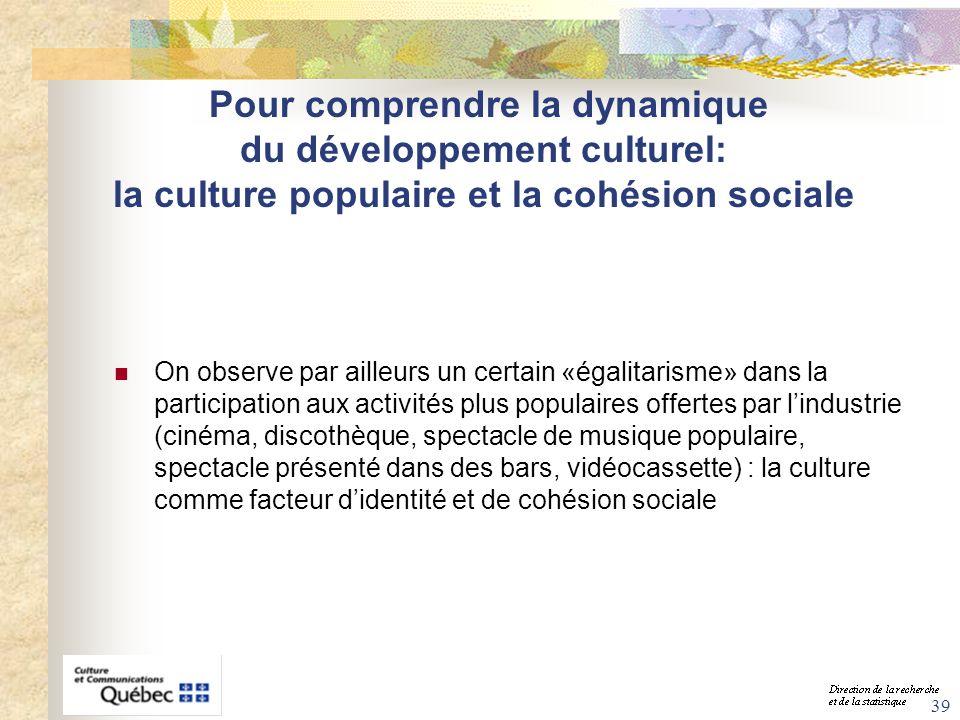 39 Pour comprendre la dynamique du développement culturel: la culture populaire et la cohésion sociale On observe par ailleurs un certain «égalitarism