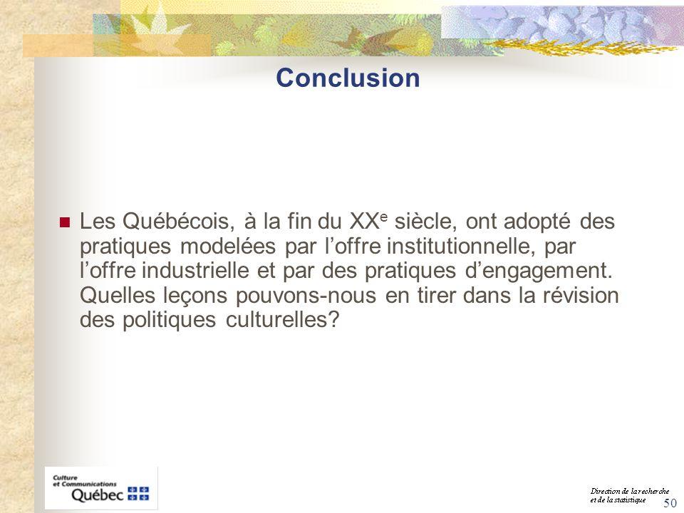 50 Conclusion Les Québécois, à la fin du XX e siècle, ont adopté des pratiques modelées par loffre institutionnelle, par loffre industrielle et par de