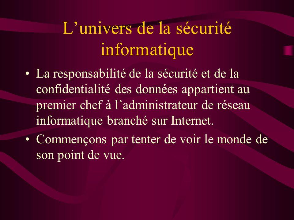 Lunivers de la sécurité informatique La responsabilité de la sécurité et de la confidentialité des données appartient au premier chef à ladministrateur de réseau informatique branché sur Internet.