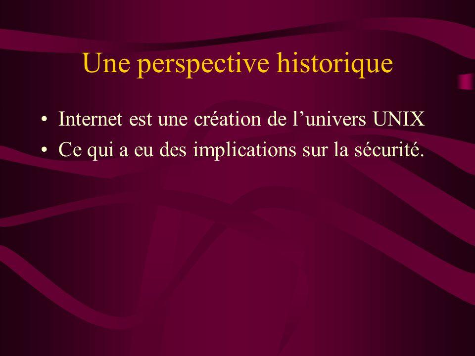 Une perspective historique Internet est une création de lunivers UNIX Ce qui a eu des implications sur la sécurité.