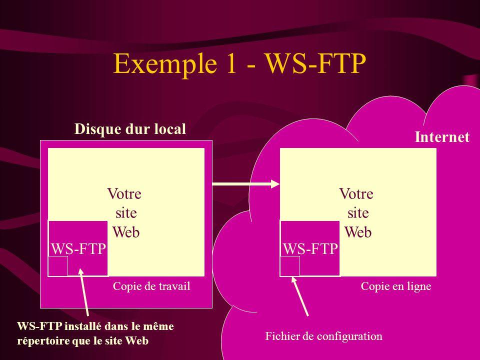 Exemple 1 - WS-FTP Disque dur local Internet Votre site Web WS-FTP Copie de travailCopie en ligne Votre site Web WS-FTP Fichier de configuration WS-FTP installé dans le même répertoire que le site Web