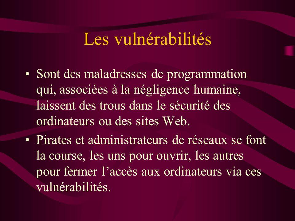 Les vulnérabilités Sont des maladresses de programmation qui, associées à la négligence humaine, laissent des trous dans le sécurité des ordinateurs ou des sites Web.