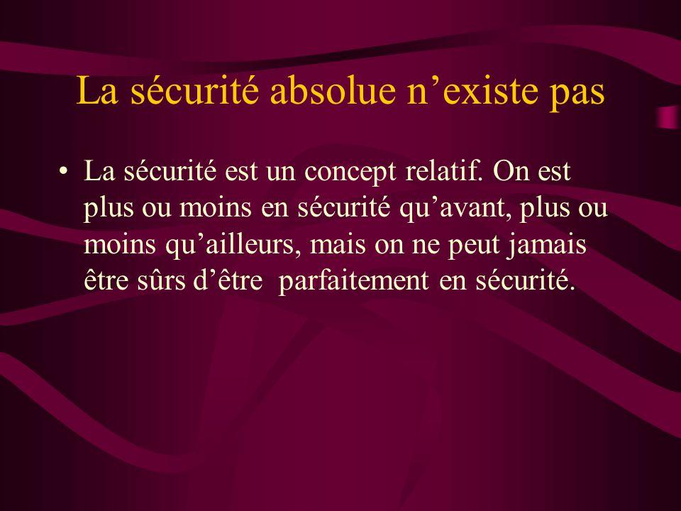 La sécurité absolue nexiste pas La sécurité est un concept relatif.