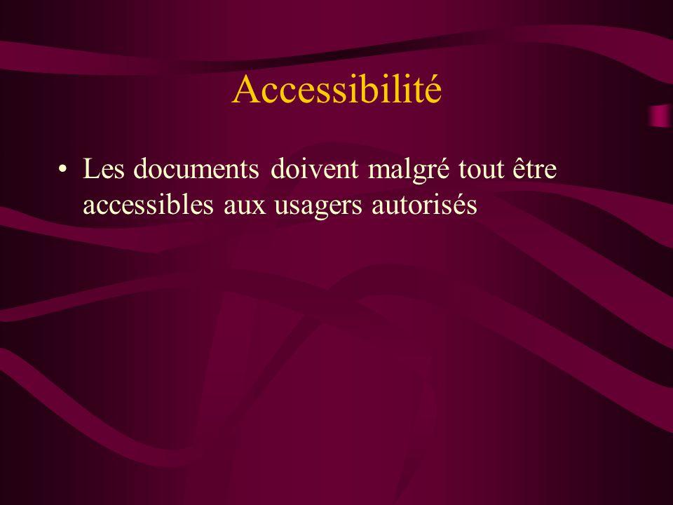 Accessibilité Les documents doivent malgré tout être accessibles aux usagers autorisés