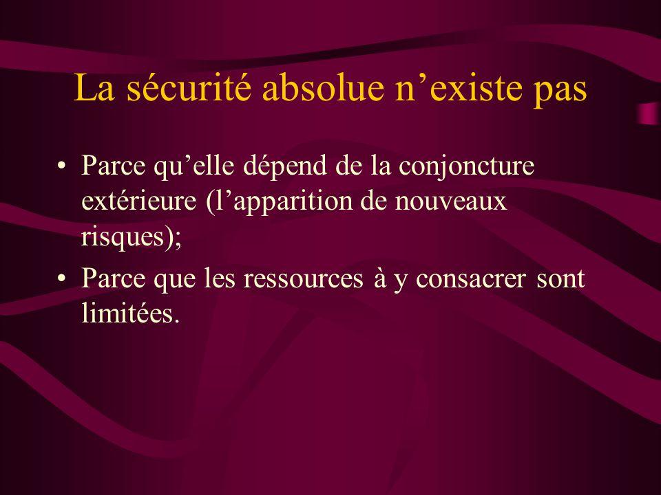 La sécurité absolue nexiste pas Parce quelle dépend de la conjoncture extérieure (lapparition de nouveaux risques); Parce que les ressources à y consacrer sont limitées.