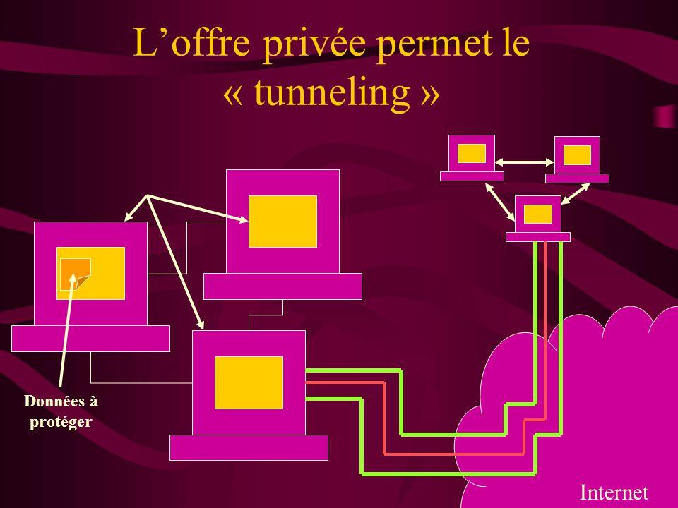 Loffre privée permet le « tunneling » Internet Données à protéger