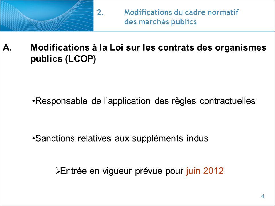 4 2.Modifications du cadre normatif des marchés publics A.Modifications à la Loi sur les contrats des organismes publics (LCOP) Sanctions relatives au