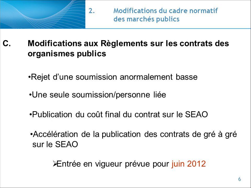 6 2.Modifications du cadre normatif des marchés publics C.Modifications aux Règlements sur les contrats des organismes publics Rejet dune soumission a