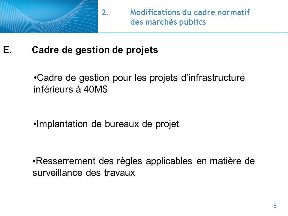 8 2.Modifications du cadre normatif des marchés publics E.Cadre de gestion de projets Cadre de gestion pour les projets dinfrastructure inférieurs à 4