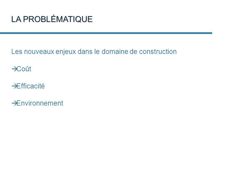 Les nouveaux enjeux dans le domaine de construction Coût Efficacité Environnement LA PROBLÉMATIQUE