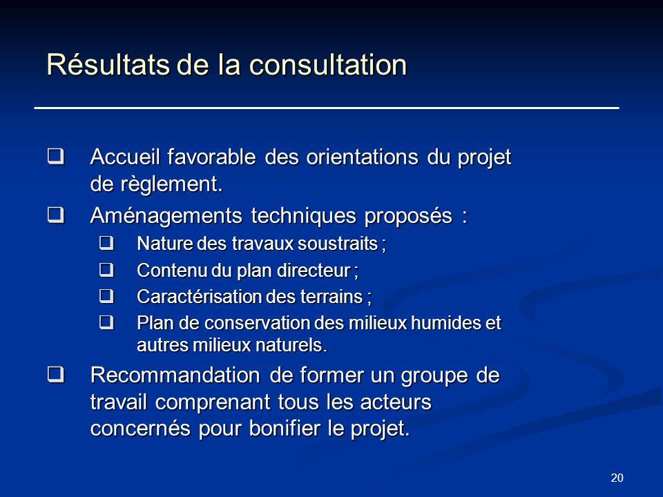 20 Résultats de la consultation Accueil favorable des orientations du projet de règlement. Accueil favorable des orientations du projet de règlement.