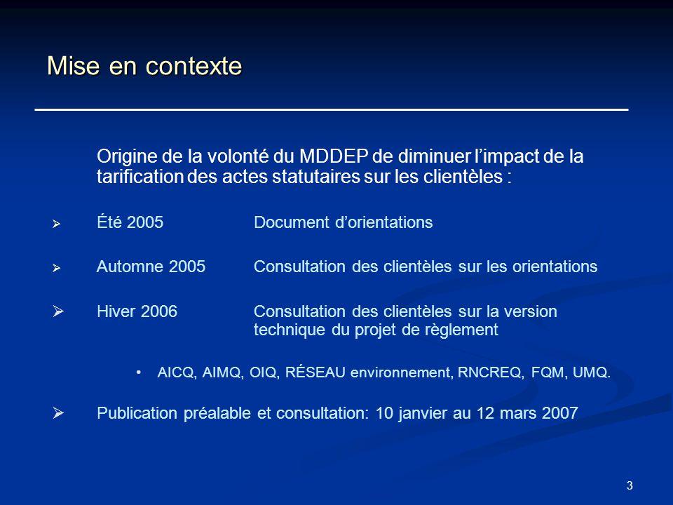 3 Mise en contexte Origine de la volonté du MDDEP de diminuer limpact de la tarification des actes statutaires sur les clientèles : Été 2005 Document
