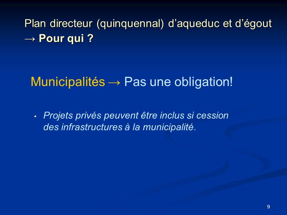 9 Plan directeur (quinquennal) daqueduc et dégout Pour qui ? Municipalités Pas une obligation! Projets privés peuvent être inclus si cession des infra