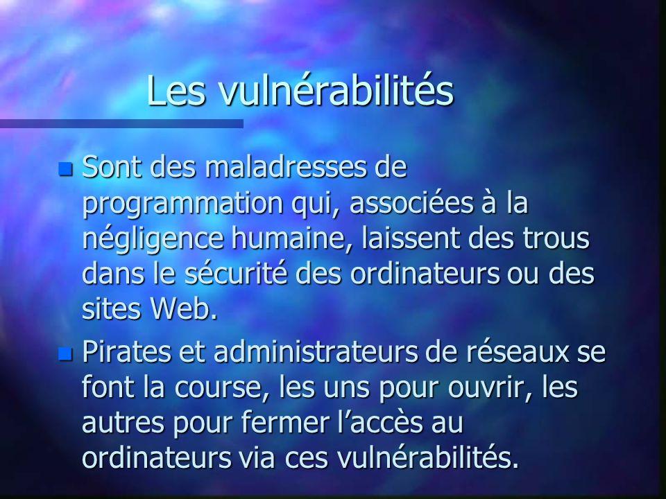Les vulnérabilités n Sont des maladresses de programmation qui, associées à la négligence humaine, laissent des trous dans le sécurité des ordinateurs ou des sites Web.