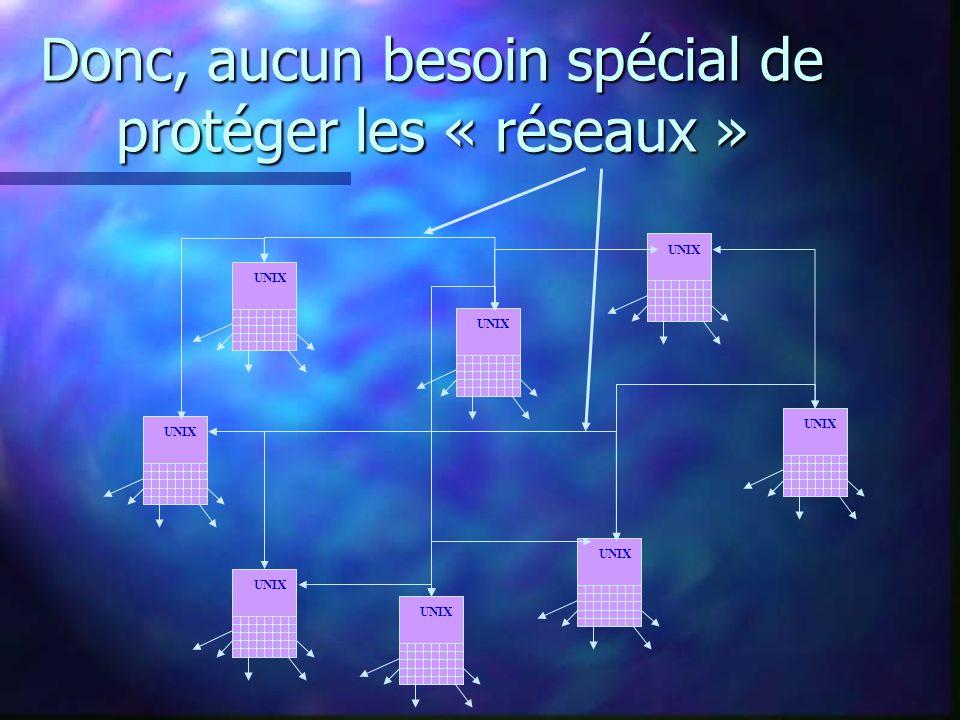 Donc, aucun besoin spécial de protéger les « réseaux » UNIX