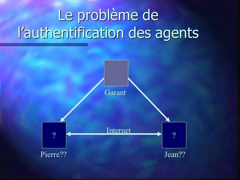 Le problème de lauthentification des agents Pierre Jean Internet Garant