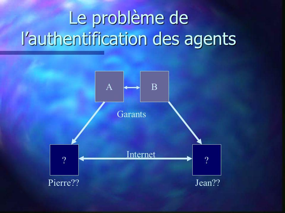 Le problème de lauthentification des agents Pierre Jean Internet Garants AB