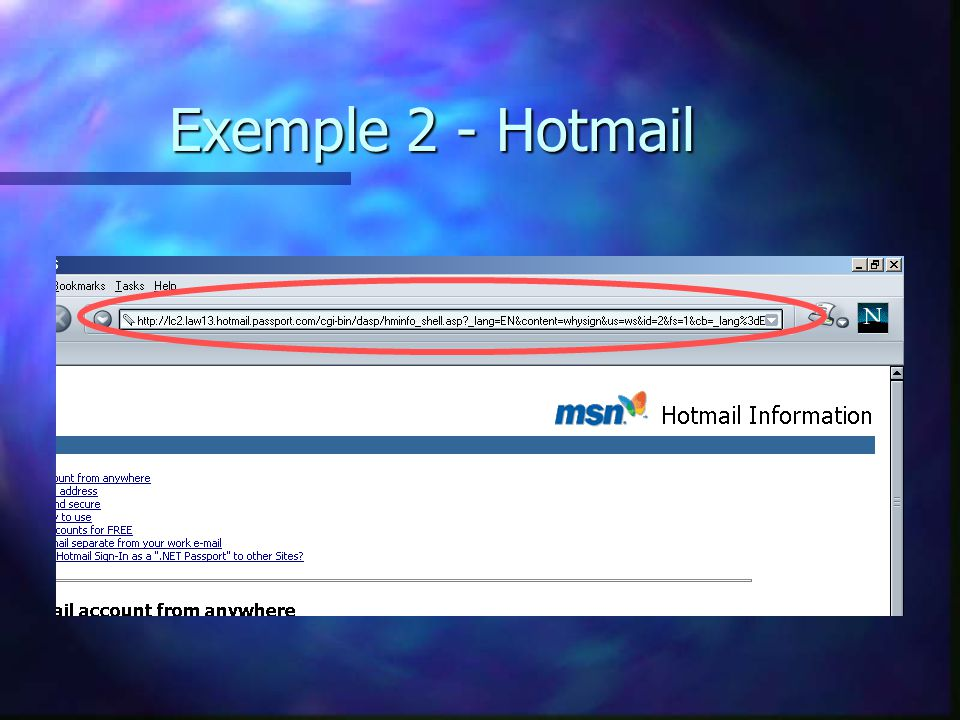 Exemple 2 - Hotmail