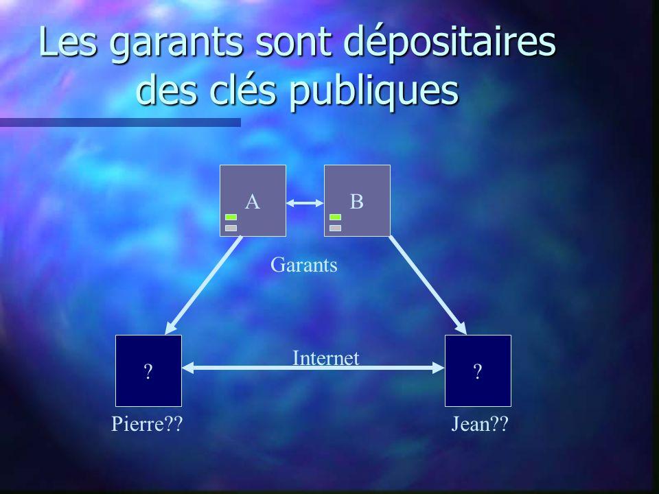 Les garants sont dépositaires des clés publiques Pierre Jean Internet Garants AB