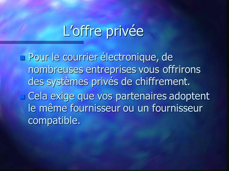Loffre privée permet le « tunneling » Internet Réseau local et/ou Intranet Données à protéger