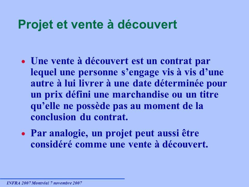 INFRA 2007 Montréal 7 novembre 2007 Projet et vente à découvert Une vente à découvert est un contrat par lequel une personne sengage vis à vis dune au