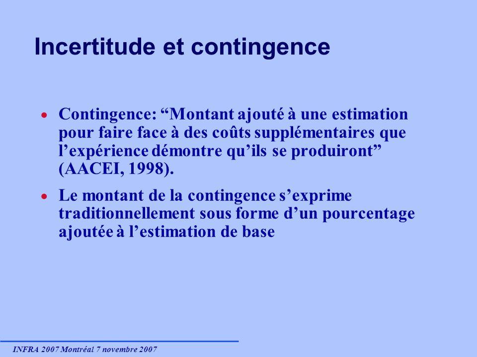 INFRA 2007 Montréal 7 novembre 2007 Incertitude et contingence Contingence: Montant ajouté à une estimation pour faire face à des coûts supplémentaires que lexpérience démontre quils se produiront (AACEI, 1998).