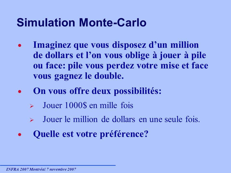 INFRA 2007 Montréal 7 novembre 2007 Simulation Monte-Carlo Imaginez que vous disposez dun million de dollars et lon vous oblige à jouer à pile ou face: pile vous perdez votre mise et face vous gagnez le double.