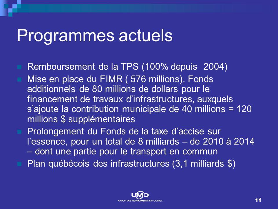 11 Programmes actuels Remboursement de la TPS (100% depuis 2004) Mise en place du FIMR ( 576 millions). Fonds additionnels de 80 millions de dollars p