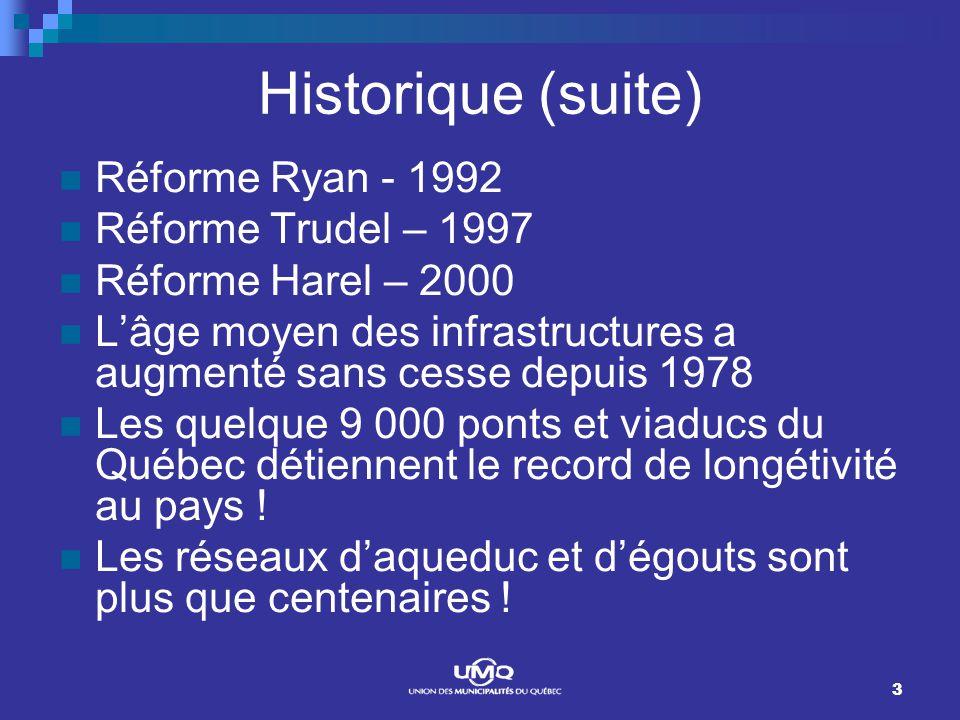 3 Historique (suite) Réforme Ryan - 1992 Réforme Trudel – 1997 Réforme Harel – 2000 Lâge moyen des infrastructures a augmenté sans cesse depuis 1978 Les quelque 9 000 ponts et viaducs du Québec détiennent le record de longétivité au pays .