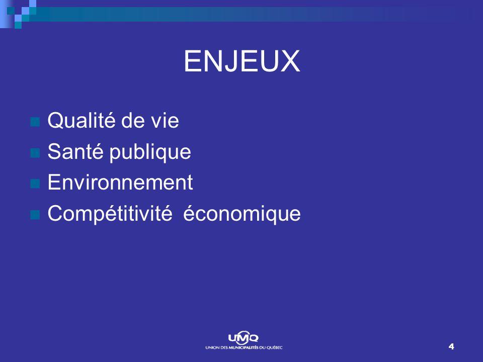 4 ENJEUX Qualité de vie Santé publique Environnement Compétitivité économique