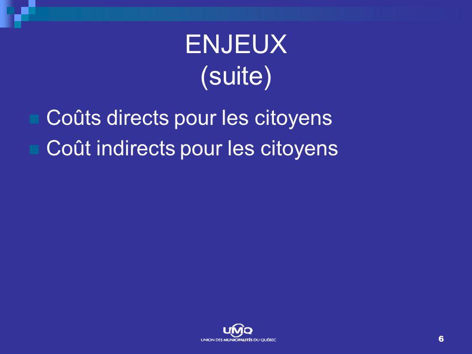 6 ENJEUX (suite) Coûts directs pour les citoyens Coût indirects pour les citoyens