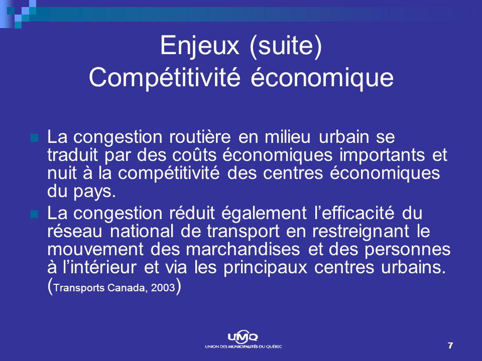 7 Enjeux (suite) Compétitivité économique La congestion routière en milieu urbain se traduit par des coûts économiques importants et nuit à la compétitivité des centres économiques du pays.