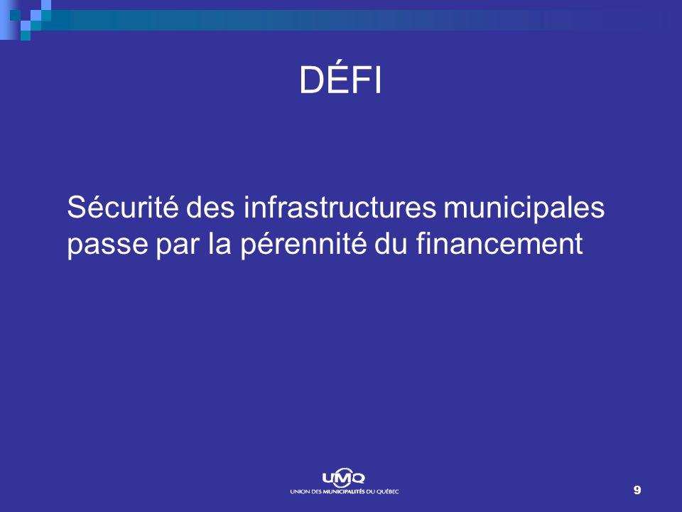 9 DÉFI Sécurité des infrastructures municipales passe par la pérennité du financement