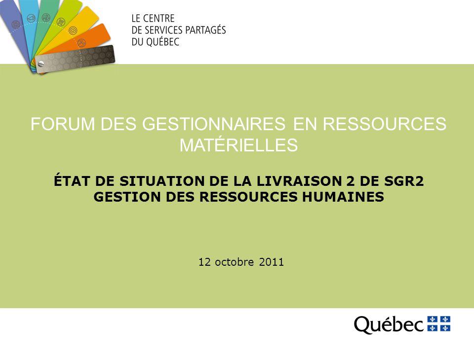 ÉTAT DE SITUATION DE LA LIVRAISON 2 DE SGR2 GESTION DES RESSOURCES HUMAINES FORUM DES GESTIONNAIRES EN RESSOURCES MATÉRIELLES 12 octobre 2011