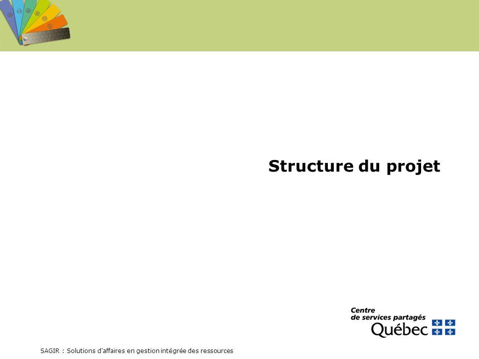 SAGIR : Solutions daffaires en gestion intégrée des ressources Structure du projet