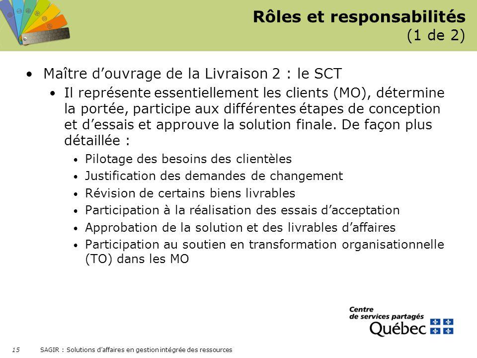 SAGIR : Solutions daffaires en gestion intégrée des ressources 15 Rôles et responsabilités (1 de 2) Maître douvrage de la Livraison 2 : le SCT Il repr
