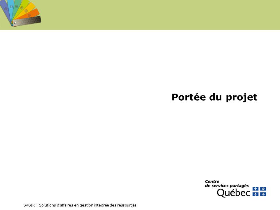 SAGIR : Solutions daffaires en gestion intégrée des ressources Portée du projet